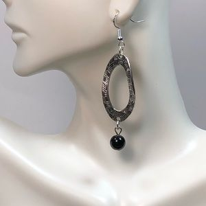 Handmade Silver and Black Drop Earrings